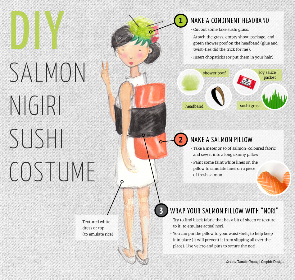 DIY salmon sushi costume